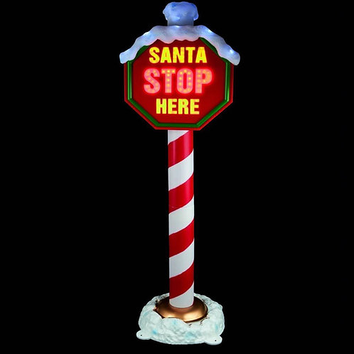 Santa Stop Here Light-up Sign 1.5mtrs H