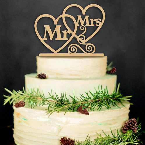 Love Heart MR & MRS Wedding Cake Topper