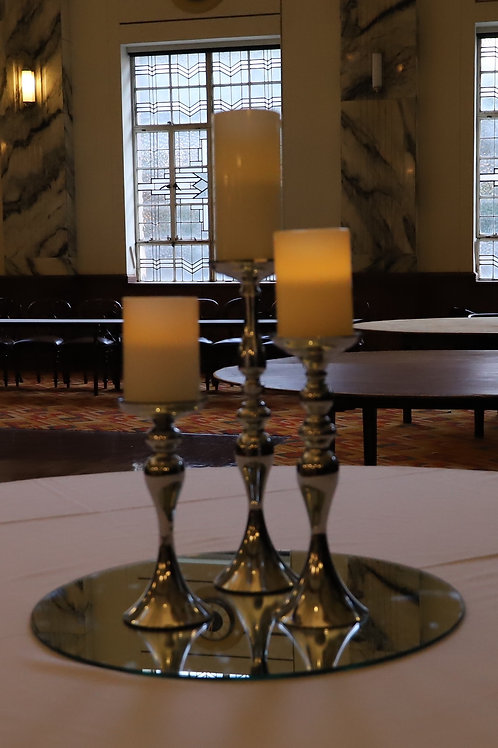 Set of Three Silver Candle Sticks with LED Candles