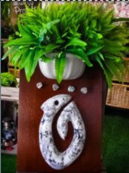 NZ Fish Hook on a Board & Flowers