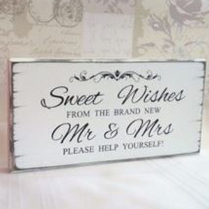 Mr & Mrs Candy Bar Sign & Easel