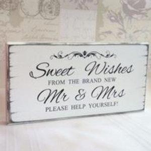 Mr & Mrs Candy Bar Sign & Easel