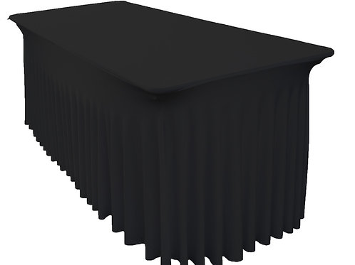 6Ft (1.8m) Black SEMI Fitted Lycra/Spandex Tablecloth Cover