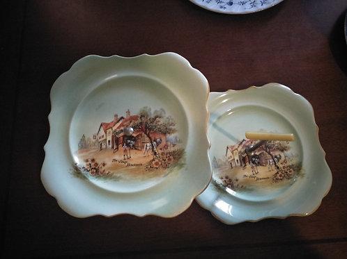 Duo Vintage Cake Plates