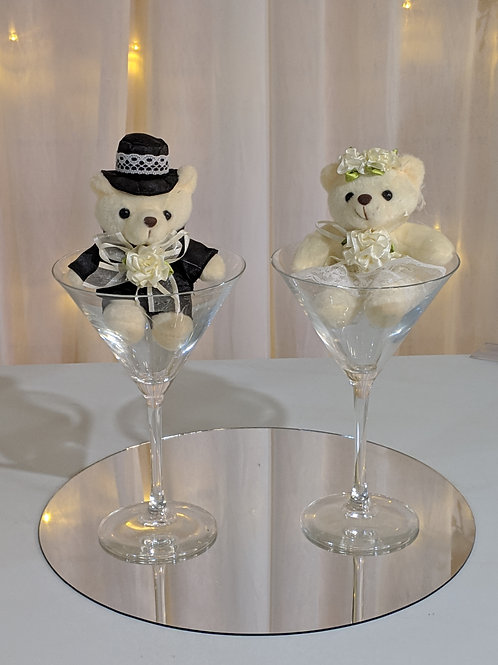 Mr &  Mrs Bear in Champagne Glass set