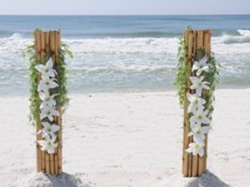 Bamboo Pillars & Faux Flowers set of two