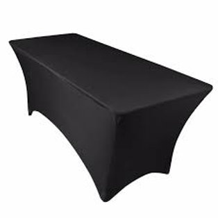 6Ft (1.8m) Black Fitted Lycra/Spandex Tablecloth C