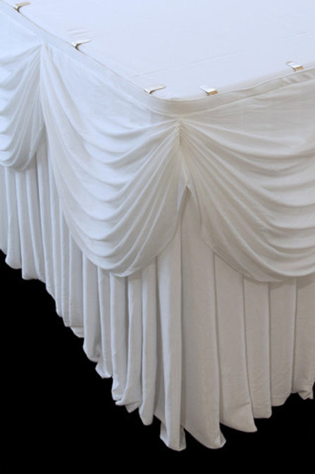Pleated Table Skirt With Swag (Velcro)
