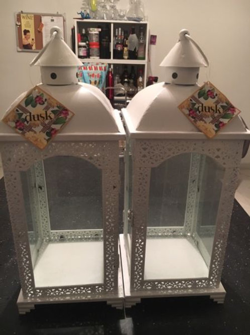 White Lanterns with Led Candles set of two only
