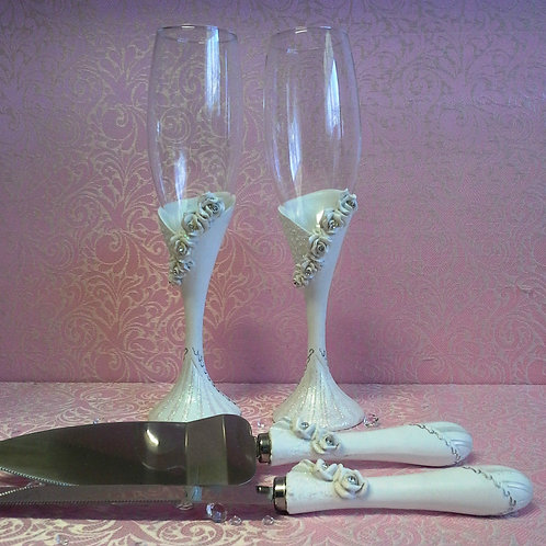 Rose Bridal Toasting Glasses & Cutting Set