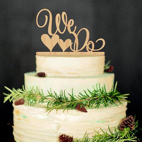 WE DO Hearts Wedding Cake Topper