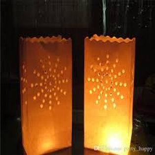 Hollow Paper Bag Tea Light Lantern x 10pc