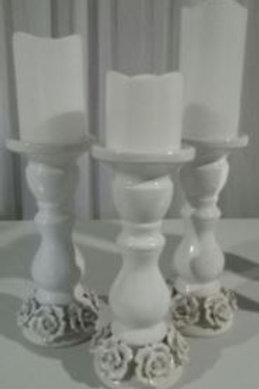 White Rose Candle Sticks WITH PLASTIC LED CANDLES FOR SALE