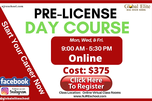 NJ Pre-Licensing Online Real Estate Day Classes- M,W,F. - 9 AM - 5:30 PM