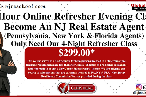 15 HOUR ONLINE REFRESHER EVENING COURSE, 6 PM - 9:45 PM, T & Th (PA,NY &FL)