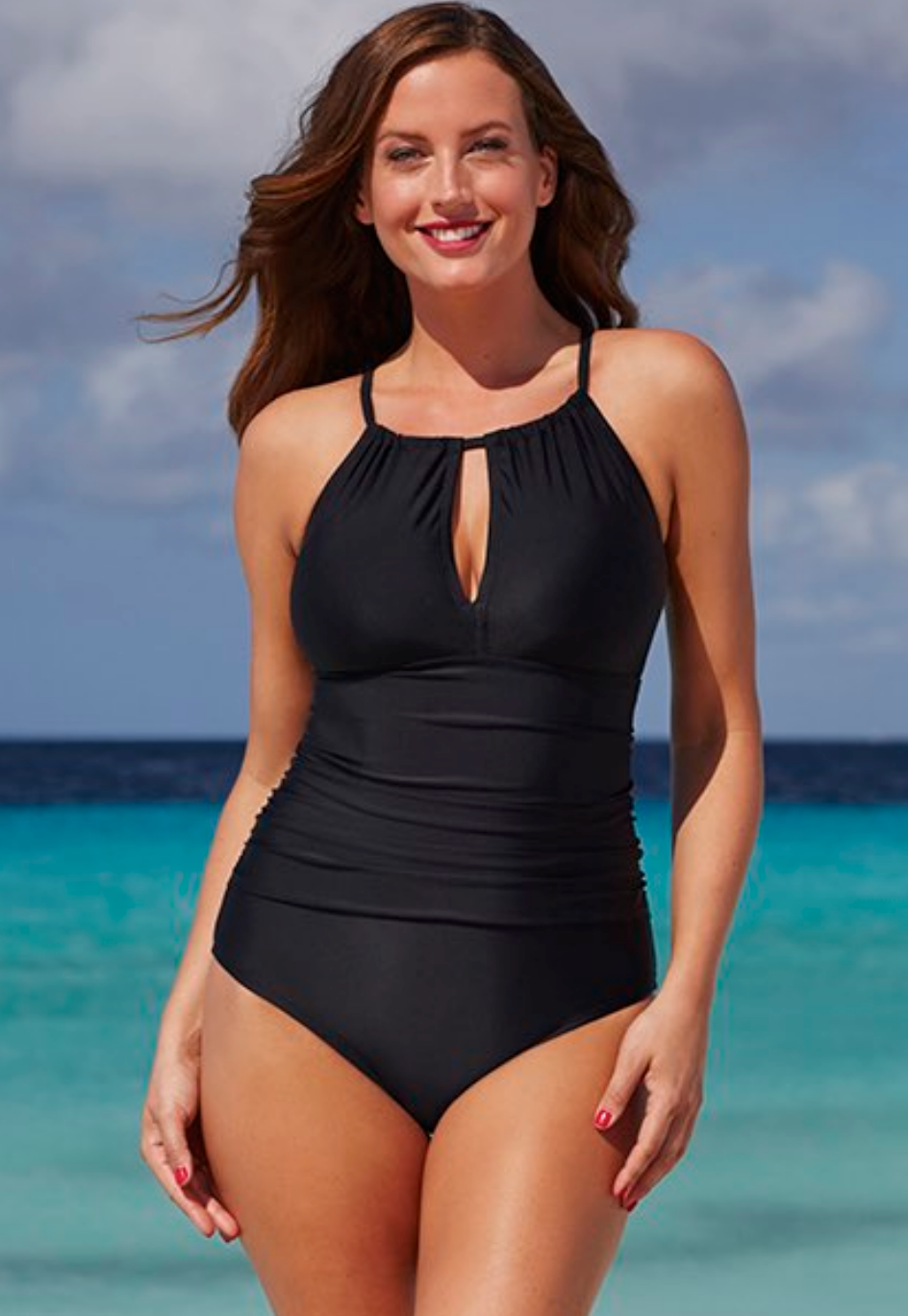 Shore Club Black Keyhole Swimsuit 53.20$