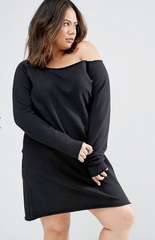 The perfect plus-size outfit for the Fall; shirt dress & thigh-high boots