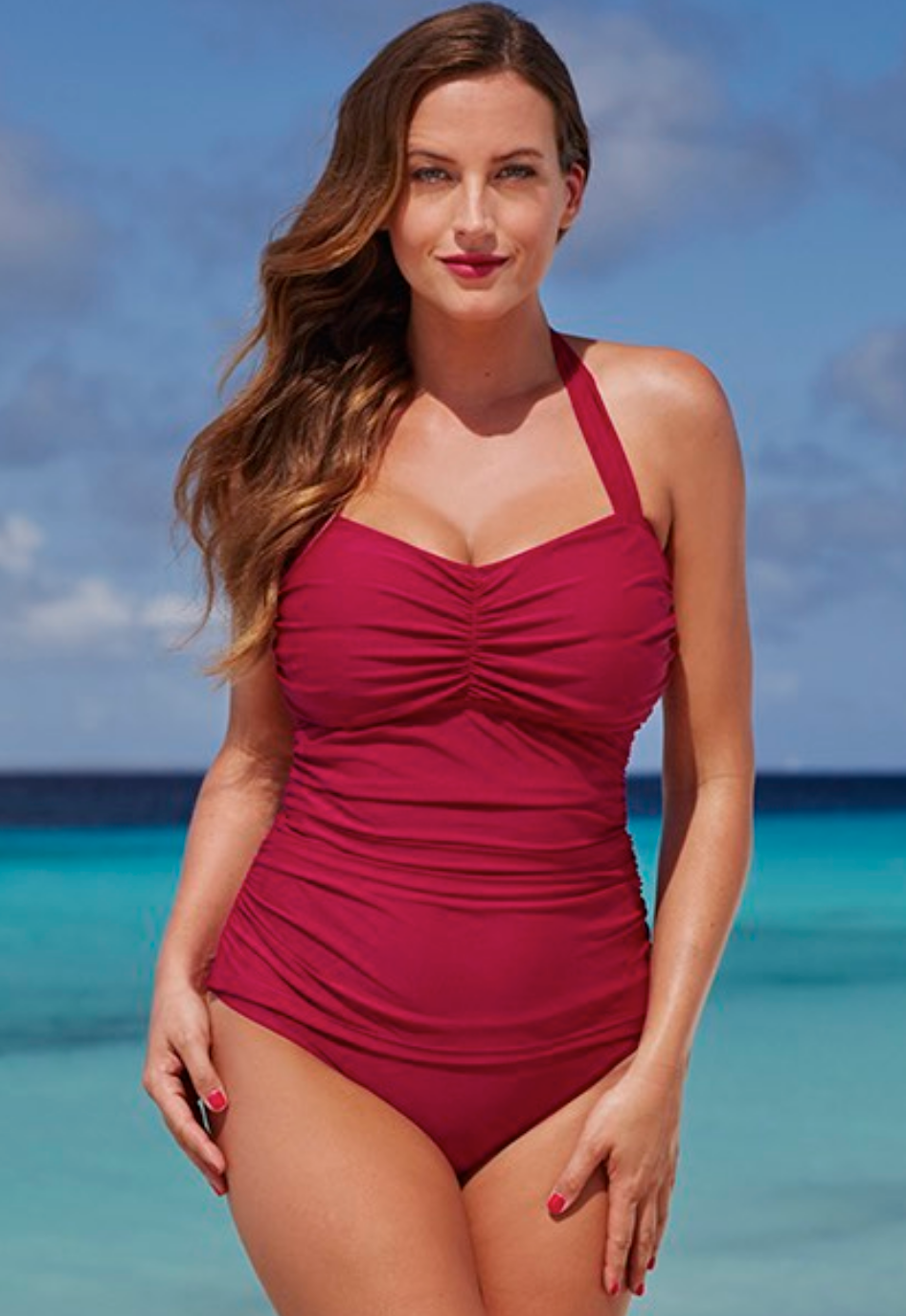 Shore Club Plum Halter Swimsuit 51.80$