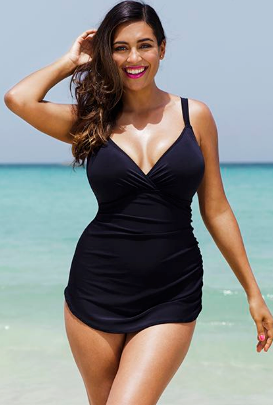Shore Club Black Plunge Sarong Front Swimsuit 44.80$