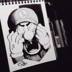 DAY 9 - #inktober Zombie Luigi 🎩COMMISS
