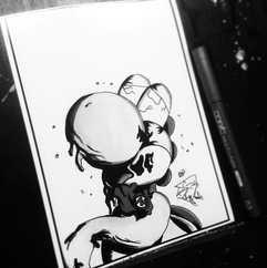 DAY 15 - #inktober Zombie Yoshi. Yeah I