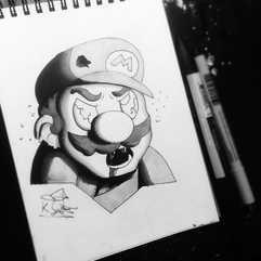 DAY 8 - #inktober Zombie Mario_•_🎩COMMI