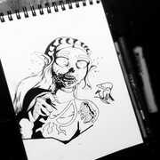 DAY 16 - #inktober Zombie Zelda •_🎩COMM