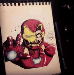 Zombie Iron Man doodle from this morning