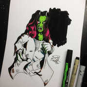 Zombie Gamora. Thought I'd colour her in
