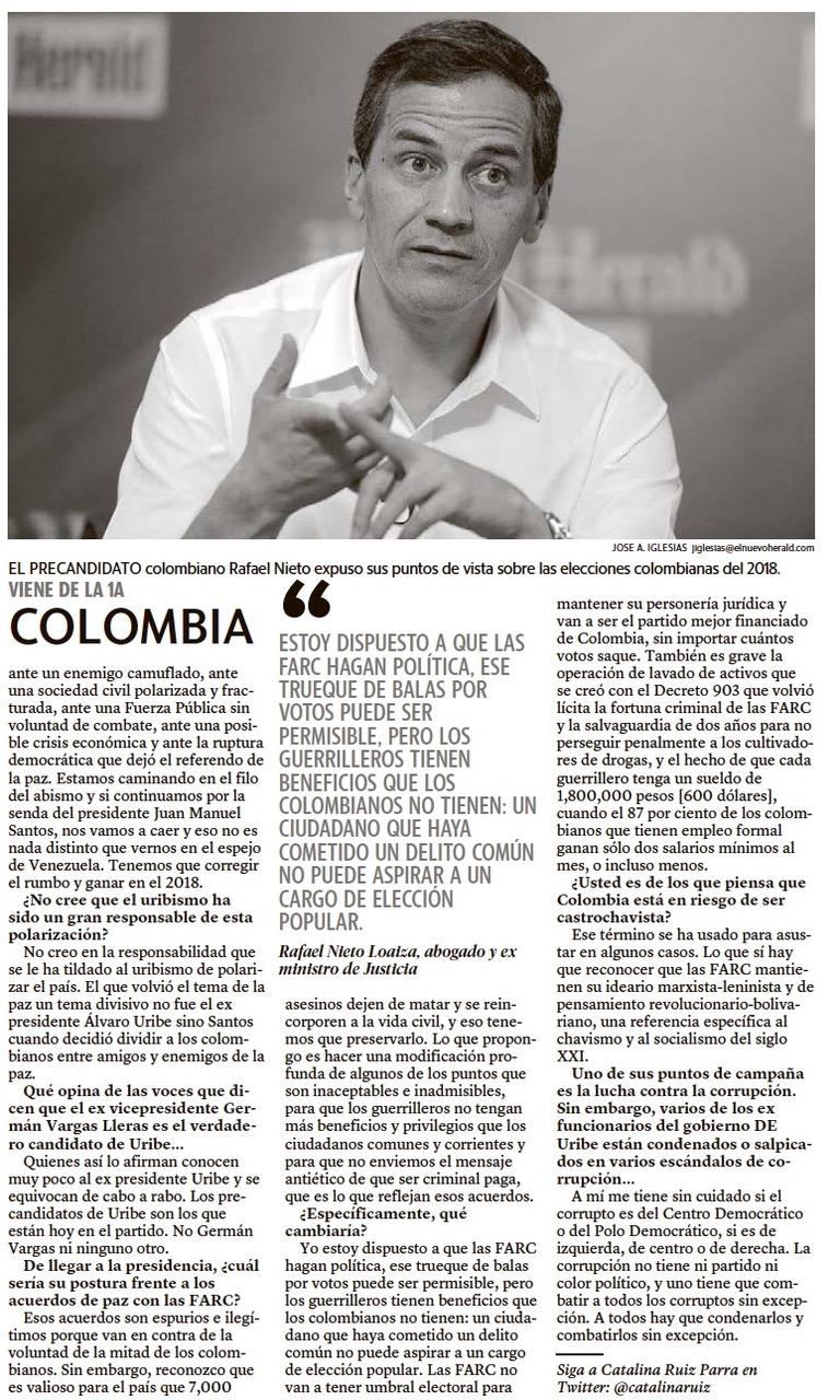 Entrevista con Precandiadto Presidencial, Rafael Nieto Loaiza