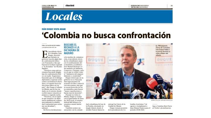 Rueda de Prensa con el Presidente Colombiano, Iván Duque
