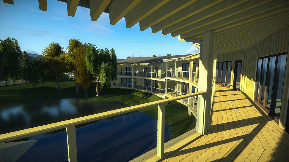Architectural Visual from the upper balcony at Hill Pond Development in Devon