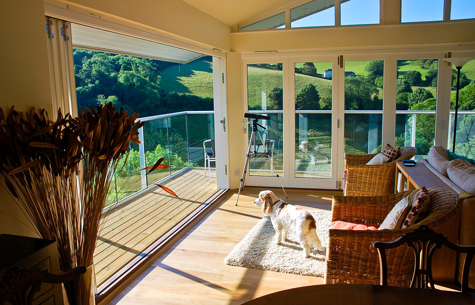 Glazed Open Plan Living Room with Views Across the Dart Estuary
