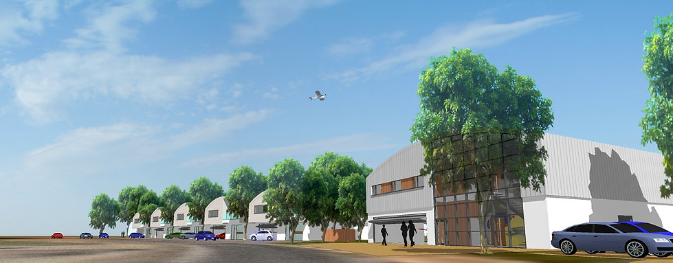 Hanger Homes Airfield Development Providing Living Accommodation for Private Aviation
