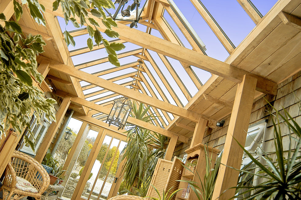 Oak Framed Garden Room Extension, Interior Design in Devon