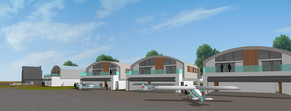 Architectural Visual of the Hanger Homes Development from Airfield