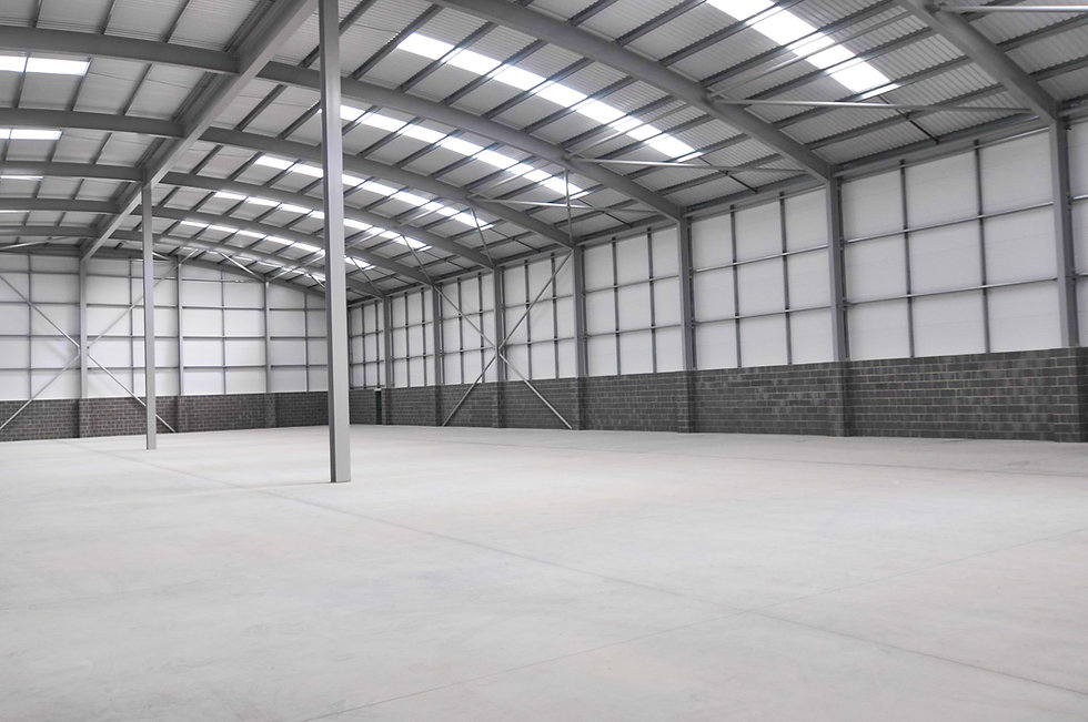 Steel Frame Interior View of Atlas Packaging Industrial Unit in Barnstaple