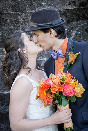 First kiss - bride and groom