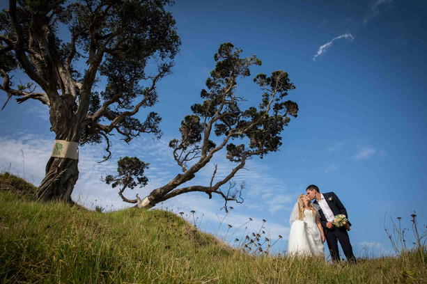 Bride and groom scenic views