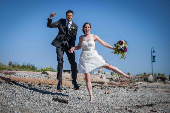Flying in the air - newlyweds