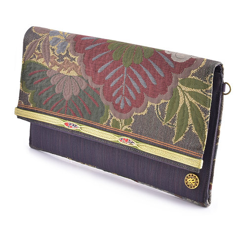 Burgundy & Green Floral Clutch
