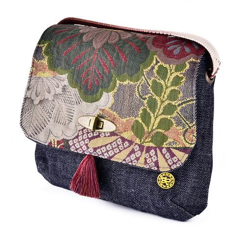 Burgundy Floral Jean Shoulder Bag (Small)