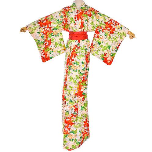 Japanese Vintage Silk Orange Beige Sakura Peony Chrysanthemum Kimono
