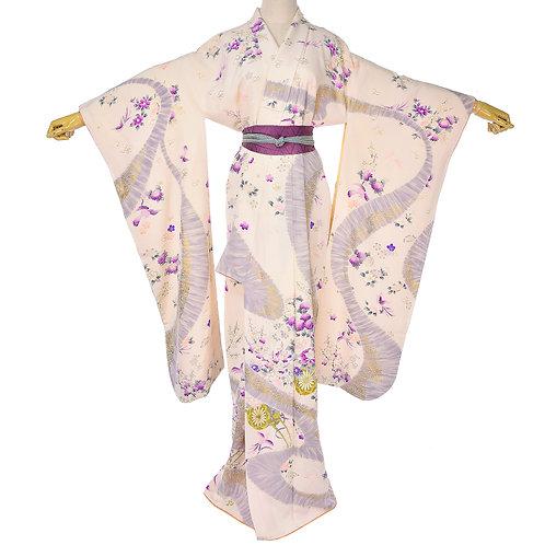 Japanese Beige Purple Pink Gray Silk Sakura Furisode kimono,Silk Japanese Robe