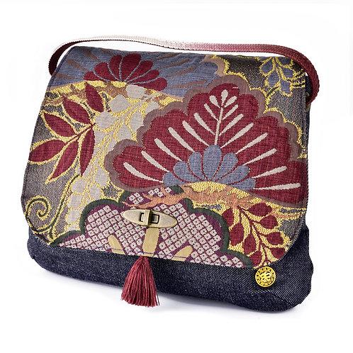Burgundy Floral Jean Shoulder Bag (Large)