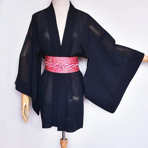 Sheer Japanese Vintage Haori, Black Haori, Silk Robe,Black Silk Jacket