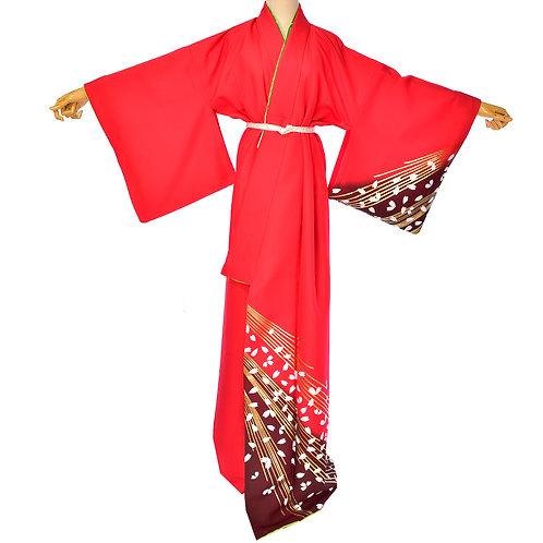 Japanese Red Handmade Costume Kimono,Washable Kimono