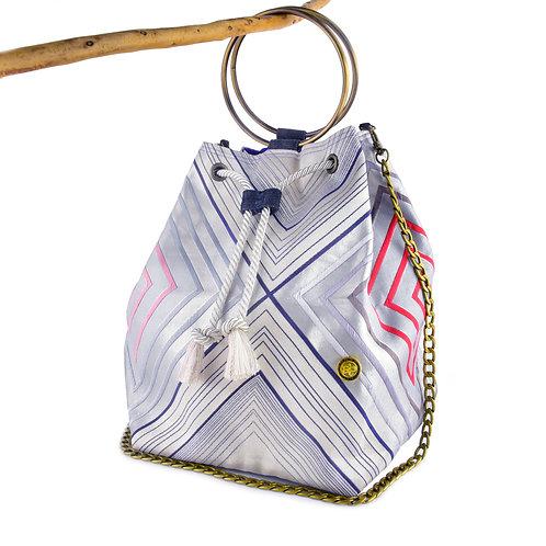 Geometric Silver Bucket Bag