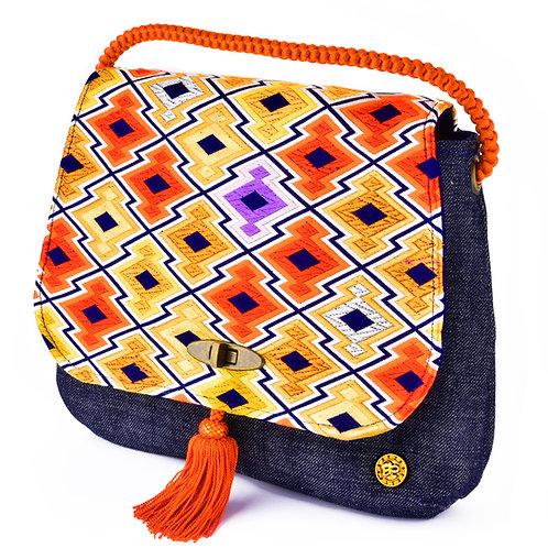 Round Geometrical Jean Messenger Shoulder Bag (Large)