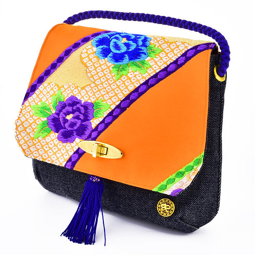 Orange Floral Shoulder Bag (Small)